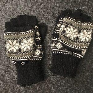 Black & Gray Fair Isle Fleece Fingerless Gloves